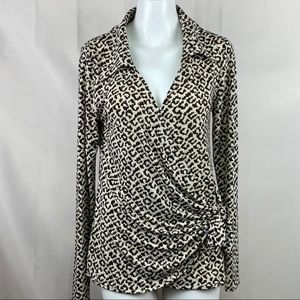 Russell Kemp top tie front wrap animal print